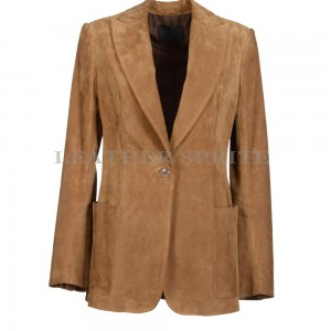 Single Button Suede Leather Blazer