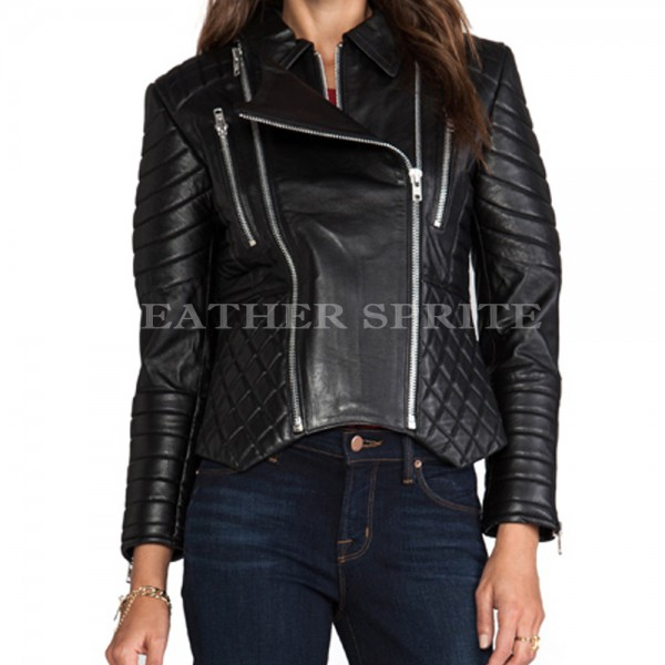 Designer Trendy Women Leather Motorcycle Jacket | Quilted Women ...