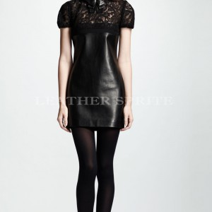 ed60e31893 Leather AND Lace Combination Women Short Day Time Dress